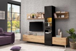 Obývací stěna Audrey - dub artisan/černý lesk