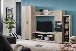 Obývací stěna Jade - dub šedý/dub černý