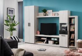 Obývací stěna Jade - dub bílý/dub černý