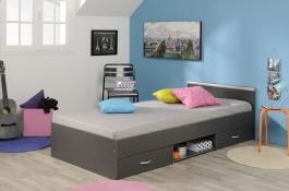 Dětská postel Alpha 90x200cm - tmavě šedá