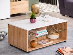 Konferenční stolek Carter - dub artisan/bílá