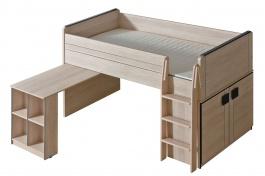 Vyvýšená postel 90x200cm se stolem Loki - dub santana/popel