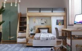 Dětská patrová postel Trendy 90x200cm - bílá/dub zlatý