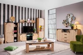 Obývací sestava s osvětlením Miles - dub artisan/černá