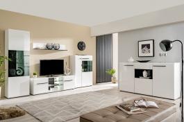Obývací sestava s osvětlením Heber - bílá/černá