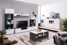 Obývací sestava Isadora - bílá/dub černý