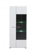 Prosklenná vitrína s osvětlením Isadora - bílá/dub černý