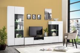 Obývací stěna s osvětlením Isadora - bílá/dub černý