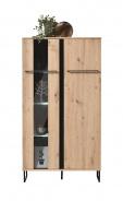Nízká vitrína s osvětlením Nathan - dub artisan/černá