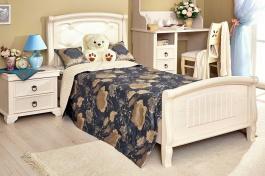 Dětská postel 90x200cm s čalouněným čelem Annie  - dub provence bílá