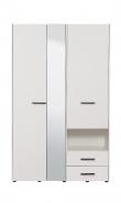 Šatní skříň se zrcadlem Samuel 3D - bílá