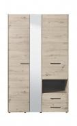 Šatní skříň se zrcadlem Samuel 3D - dub šedý