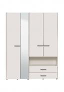 Šatní skříň se zrcadlem Samuel 4D - bílá