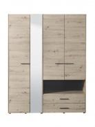 Šatní skříň se zrcadlem Samuel 4D  - dub šedý