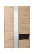 Šatní skříň se zrcadlem Samuel 3D  - dub artisan