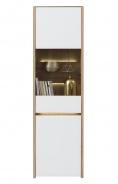 Vysoká vitrína s osvětlením Embra - dub artisan/bílý lesk