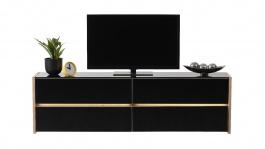 Televizní stolek s osvětlením Embra - dub artisan/černý lesk