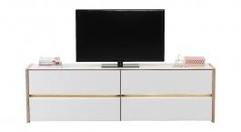 Televizní stolek s osvětlením Embra - dub artisan/bílý lesk