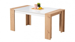 Jídelní stůl Embra - dub artisan/bílý lesk