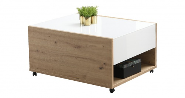 Konferenční stolek Embra - dub artisan/bílý lesk