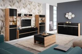 Obývací sestava s osvětlením Embra - dub artisan/černý lesk