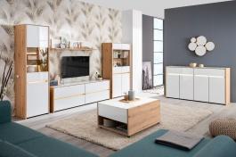 Obývací sestava s osvětlením Embra - dub artisan/bílý lesk