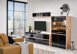 Televizní stěna s osvětlením Embra - dub artisan/černý lesk