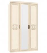 Třídveřová skříň Elizabeth s kombinovanými dveřmi a ozdobnými lištami - béžová