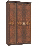 Třídveřová skříň Elizabeth s plnými dveřmi a ozdobnými lištami - ořech
