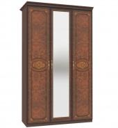 Třídveřová skříň Elizabeth s kombinovanými dveřmi a ozdobnými lištami - ořech