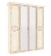 Čtyřdveřová skříň Elizabeth s kombinovanými dveřmi a ozdobnými lištami - béžová