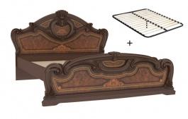Manželská postel 160x200cm Elizabeth s plným čelem a roštem - ořech