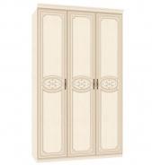 Třídveřová skříň Elizabeth s plnými dveřmi a ozdobnými lištami - béžová