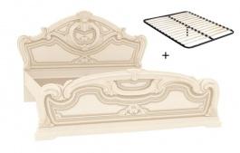 Manželská postel 160x200cm Elizabeth s plným čelem a roštem - béžová