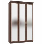 Třídveřová skříň Elizabeth se zrcadlovými dveřmi a ozdobnými lištami - ořech