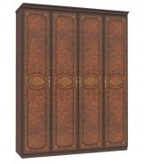 Čtyřdveřová skříň Elizabeth s plnými dveřmi a ozdobnými lištami - ořech