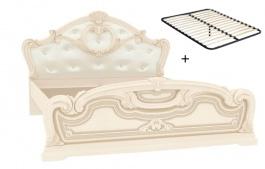 Manželská postel 160x200cm Elizabeth s polstrovaným čelem a roštem - béžová