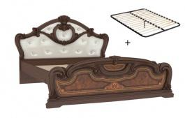 Manželská postel 160x200cm Elizabeth s polstrovaným čelem a roštem - ořech