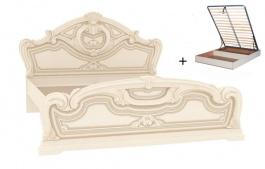 Manželská postel 160x200cm Elizabeth s plným čelem, roštem a úložným boxem - béžová