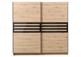 Šatní skříň s posuvnými dveřmi Rimini - dub artisan/černá