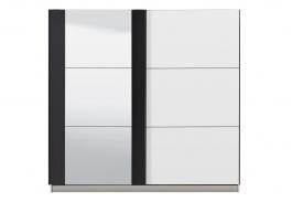 Šatní skříň s posuvnými dveřmi a zrcadlem Ancona - bílá/černá