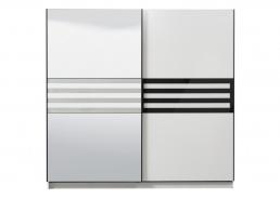 Šatní skříň s posuvnými dveřmi a zrcadlem Rimini - bílá/černá