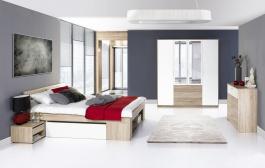 Ložnice MILO (postel 160, komoda 4S, skříň)