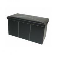 Skládací lavice, černá ekokůže, MOLY