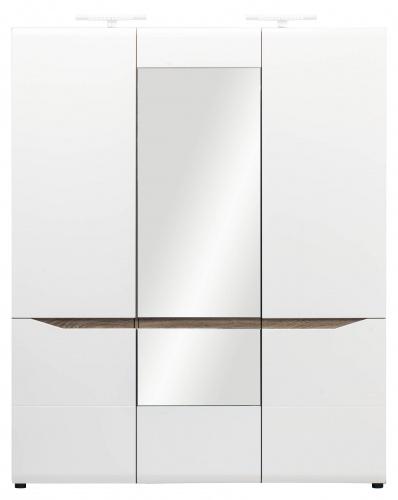 Šatní skříň LIONEL 3D - dub sonoma truflový/bílý lesk
