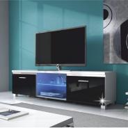 RTV stolek, bílá / černý extra vysoký lesk HG, LUGO 2