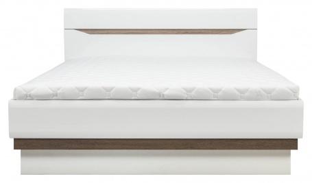 Postel LIONEL 180x200cm - dub sonoma truflový/bílý lesk