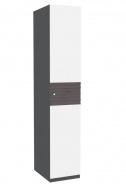 Jednodveřová šatní skříň Franchesca - wenge/šedá/čokoláda