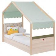 Dětská postel Beatrice 90x200cm se stříškou - dub světlý/zelená