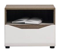 Noční stolek LIONEL - dub sonoma truflový/bílý lesk